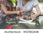 mother and daughter playing in... | Shutterstock . vector #442582648