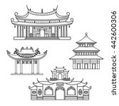 outlined icons chinese house | Shutterstock .eps vector #442600306