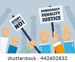 political demonstration  hands... | Shutterstock .eps vector #442602832