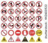 prohibition signs set vector...   Shutterstock .eps vector #442603522