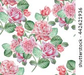 seamless pattern with red roses.... | Shutterstock . vector #442621936