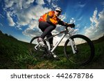 young man riding on bicycle... | Shutterstock . vector #442678786