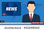 news anchor on tv breaking news ... | Shutterstock .eps vector #442698565