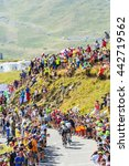 Small photo of COL DU GLANDON, FRANCE - JUL 23:Group of cyclists riding on the road to Col du Glandon during the stage 18 of Le Tour de France on July 23, 2015