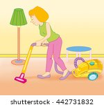 woman using vacuum cleaner to... | Shutterstock . vector #442731832