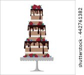 tiered naked  cake  | Shutterstock .eps vector #442761382