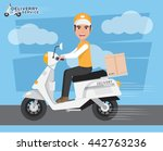 delivery man ride scooter... | Shutterstock .eps vector #442763236