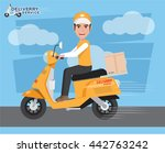 delivery man ride scooter... | Shutterstock .eps vector #442763242