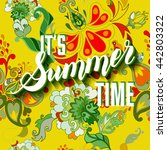it is summer time yellow... | Shutterstock . vector #442803322