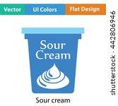 sour cream icon. flat color...