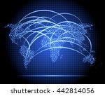 stylized neon sparkle world map ... | Shutterstock .eps vector #442814056