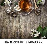 top view of green and jasmine... | Shutterstock . vector #442825636