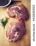 pork with pepper and rosemary...   Shutterstock . vector #442830502
