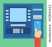 pay through terminal atm using... | Shutterstock .eps vector #442831612