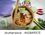 noodle deli on the wooden floo | Shutterstock . vector #442849375
