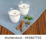 indian healthy yogurt drink ... | Shutterstock . vector #442867732