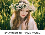 beautiful young woman with... | Shutterstock . vector #442879282