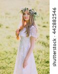 beautiful young woman with... | Shutterstock . vector #442882546