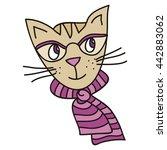 cute cartoon cat. vector... | Shutterstock .eps vector #442883062