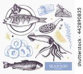 vector seafood illustration set.... | Shutterstock .eps vector #442890835