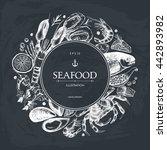 vector seafood card design.... | Shutterstock .eps vector #442893982