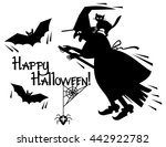 silhouette of a witch flying on ... | Shutterstock .eps vector #442922782