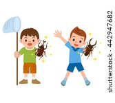 boy who captured the stag and... | Shutterstock .eps vector #442947682