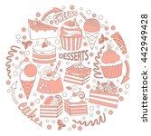 set of different desserts end... | Shutterstock .eps vector #442949428