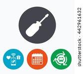 Screwdriver Tool Sign Icon. Fi...