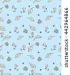 leaf vector seamless pattern | Shutterstock .eps vector #442964866