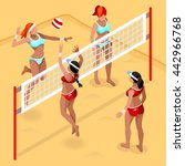 beach volleyball players 2016... | Shutterstock .eps vector #442966768