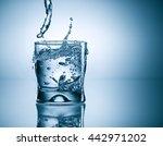 water splash in glass   Shutterstock . vector #442971202