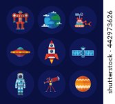 set of vector space icons in... | Shutterstock .eps vector #442973626