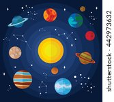 vector flat solar system with... | Shutterstock .eps vector #442973632
