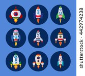 space rockets vector icons set... | Shutterstock .eps vector #442974238