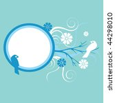 blue bird and floral background ... | Shutterstock . vector #44298010