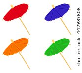 cocktail umbrellas colorful set ... | Shutterstock .eps vector #442989808