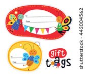 gift tags with cute insects for ... | Shutterstock .eps vector #443004562