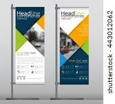 blue flag banner business... | Shutterstock .eps vector #443012062