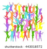 team achievement big group  | Shutterstock .eps vector #443018572