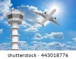 passenger aircraft  flying... | Shutterstock . vector #443018776