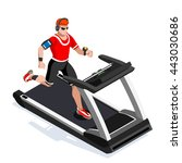 treadmill gym class working out.... | Shutterstock .eps vector #443030686