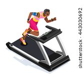 treadmill gym class working out.... | Shutterstock .eps vector #443030692