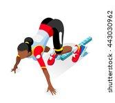 sportswoman run sprinter runner ... | Shutterstock .eps vector #443030962
