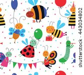 cute insects have a party....   Shutterstock .eps vector #443034802