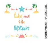 cute summer quote with saying ... | Shutterstock .eps vector #443053306