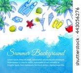 sea watercolor background....   Shutterstock .eps vector #443056276
