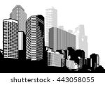 black and white panorama city.... | Shutterstock .eps vector #443058055