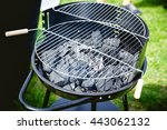 heated charcoal in a barbecue ... | Shutterstock . vector #443062132