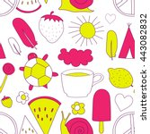 hand drawn neon doodles pattern ... | Shutterstock .eps vector #443082832